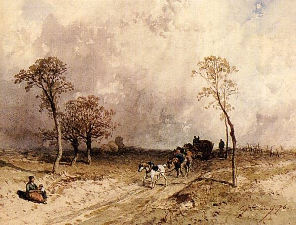 A Team Of Horses Pulling A Cart On A Path